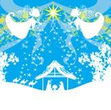 Biblijna scena - narodziny Jezus w Betlejem Zdjęcia Royalty Free