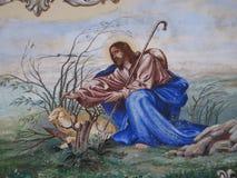 Biblijnej sztuki metaforyka Chrześcijańska baca z barankiem Zdjęcia Stock