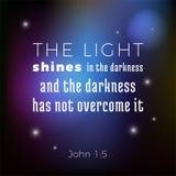 Biblijny święte pisma werset od John ewangelii światło błyszczy w th royalty ilustracja