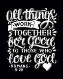 Biblijny tło z ręką pisze list Wszystkie rzeczy pracuje wpólnie na dobre one że miłość bóg ilustracja wektor