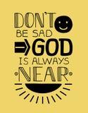 Biblijny tło z uśmiech twarzą i promienie literowanie słońca i ręki no jesteśmy smutni, bóg jesteśmy zawsze blisko Zdjęcie Stock