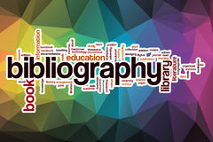 Bibliography word cloud with abstract background Stock Photography