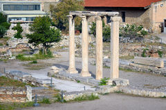 Biblioteca antiga de Hadrian, cidade de Atenas, Grécia Fotografia de Stock