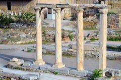 Biblioteca antigua de Hadrian, ciudad de Atenas, Grecia Imagen de archivo libre de regalías