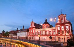 Biblioteca barroca en el Wroclaw Foto de archivo