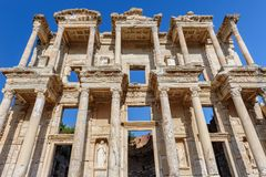 Biblioteca centigrado antica in Ephesus, Turchia Immagine Stock