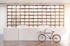 Biblioteca com uma bicicleta, tonificada Imagem de Stock Royalty Free