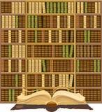 Biblioteca completamente de livros velhos Imagem de Stock