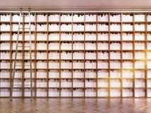 Biblioteca con filas de la escalera y del libro Foto de archivo libre de regalías