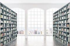 Biblioteca con la vista della città Fotografia Stock