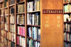 Biblioteca con los libros en concepto de la literatura de los estantes fotos de archivo