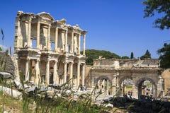 Biblioteca de Celsus en Ephesus, Turquía Foto de archivo