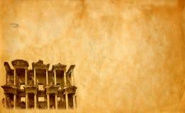 Biblioteca de Celsus no fundo de Ephesus fotografia de stock royalty free