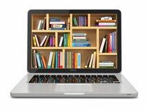 Biblioteca de la educación o de Internet del aprendizaje electrónico. Ordenador portátil y libros.