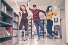 Biblioteca de Reading Book In del estudiante Foto de archivo libre de regalías