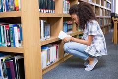 Biblioteca di Reading Book In dello studente Fotografia Stock