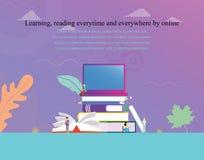 Biblioteca digitale online di concetto dell'illustrazione di vettore di concetto della lettura del libro elettronico o di istruzi illustrazione di stock