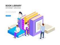 Biblioteca do livro isométrica Conceito do arquivo do Internet e aprendizagem digital para a bandeira da Web Ilustração do vetor  ilustração stock