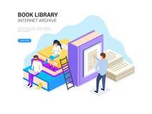 Biblioteca do livro isométrica Conceito do arquivo do Internet e aprendizagem digital para a bandeira da Web Ilustração do vetor  ilustração royalty free
