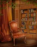 Biblioteca do vintage ilustração stock