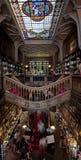 Biblioteca doble de la historia con la escalera de la mariposa Foto de archivo