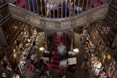 Biblioteca doble de la historia con la escalera de la mariposa Fotos de archivo libres de regalías
