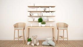 Biblioteca e brinquedo na sala da criança ou na cafetaria - rendição 3D Imagem de Stock
