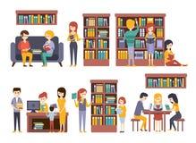 Biblioteca e libreria con la gente che legge scegliendo i libri illustrazione vettoriale
