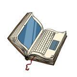 Biblioteca electrónica del ordenador portátil del libro, aislante en línea de la educación en el fondo blanco ilustración del vector