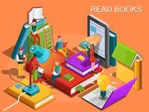 Biblioteca em linha O processo de educação, do conceito da aprendizagem e de livros de leitura na biblioteca Estudos da universid ilustração do vetor