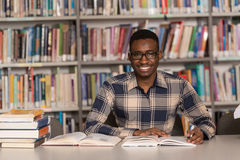 Biblioteca joven de Sitting At The del estudiante Foto de archivo libre de regalías