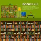 Biblioteca, livraria - teste padrão sem emenda com os livros em estantes ilustração do vetor