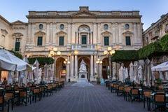Biblioteca nacional de Malta por la tarde, La Valeta Foto de archivo libre de regalías