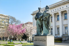 Biblioteca nacional e momument búlgaros de Cyril e de Methoduis Imagens de Stock Royalty Free