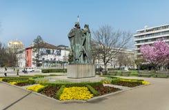 Biblioteca nacional y momument búlgaros de Cyril y de Methoduis foto de archivo