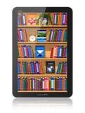 Biblioteca no computador da tabuleta Imagem de Stock