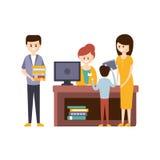 Biblioteca o libreria con la gente che usando aiuto dei libri di To Choose The del bibliotecario royalty illustrazione gratis