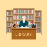 Biblioteca piana del lettore del bibliotecario di conoscenza di istruzione Immagini Stock Libere da Diritti