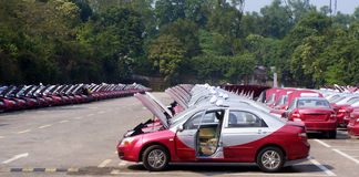 Biblioteca roja aseada del taxi Imágenes de archivo libres de regalías