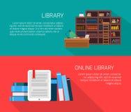 Biblioteca y biblioteca en línea Fotografía de archivo