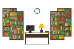 Bibliotecas e mesa dentro da casa ou do escritório Ilustração lisa do vetor para a site, cópia, infographic ilustração stock