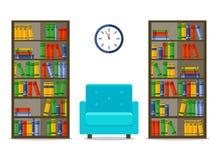 Bibliotecas e poltrona, ilustração interior do vetor para a site, cópia, infographic ilustração royalty free