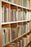 Bibliotecznego półka na książki boczny widok Zdjęcia Stock