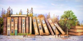 biblioteczny pojęcie Fantazji literatura Sterta stare książki jako ulica miasto ilustracja wektor
