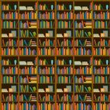 Biblioteka, bookstore - Bezszwowy wzór z książkami na półka na książki ilustracja wektor