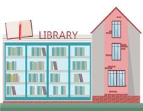 Biblioteka budynku mieszkania stylu wektoru frontowa fasadowa ilustracja ilustracji