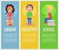 Biblioteka, twórczość i szkoła z czytanie dzieciakami, royalty ilustracja