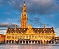 Biblioteka uniwersytet Leuven w wieczór słońcu Zdjęcia Royalty Free