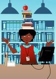 Bibliotekarie med böcker på hennes huvud Arkivbilder