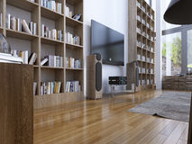Bibliothèque à la maison dans le style moderne Photo libre de droits